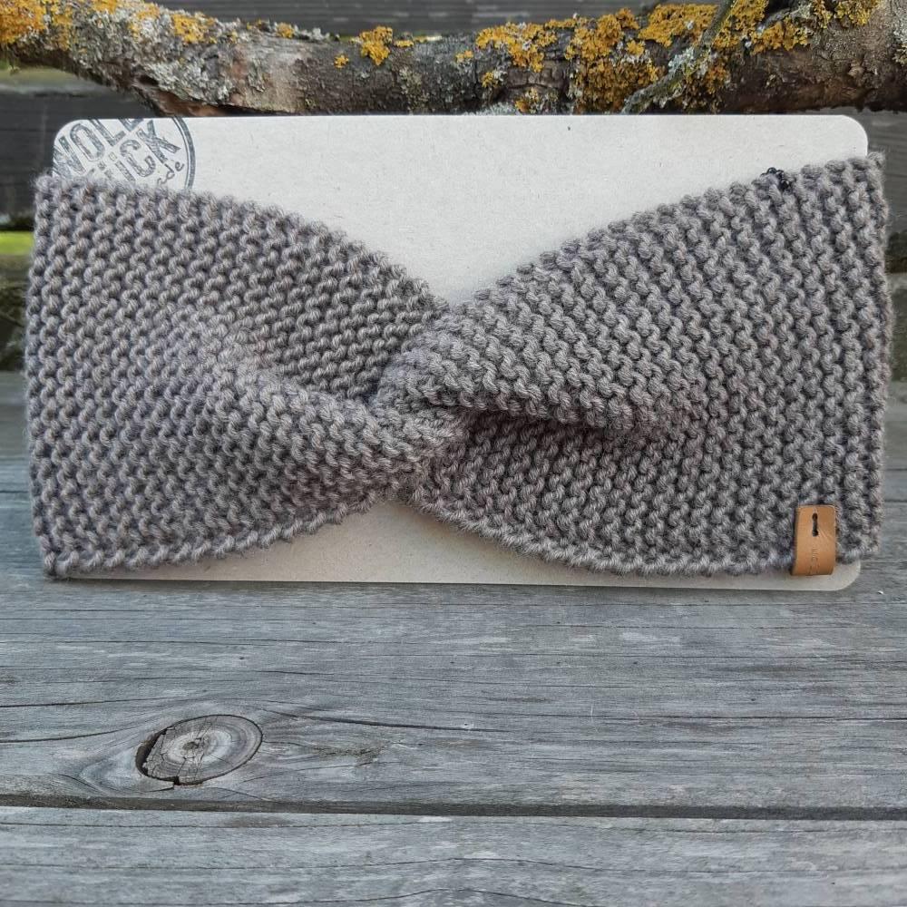 Stirnband mit Knoten handgestrickt - Wolle (Merino) - beigegrau Bild 1
