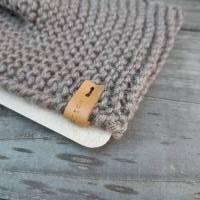 Stirnband mit Knoten handgestrickt - Wolle (Merino) - beigegrau Bild 3