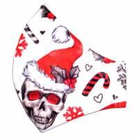 """MuNaske - Behelfs-Mund-Nase-Maske """"Santa Skulls"""", Größe M, genäht aus Baumwollstoff, OHNE Nasenbügel - Waschbar  Bild 1"""