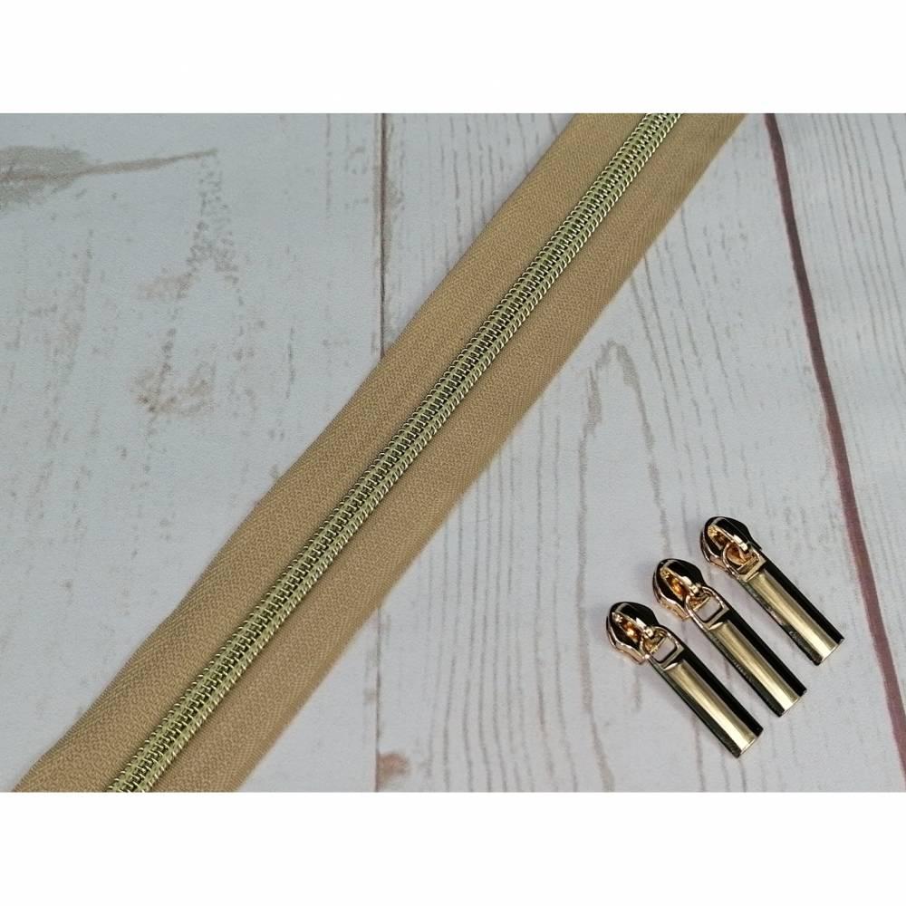 1m Endlosreissverschluss 5mm sand / hellgold Bild 1