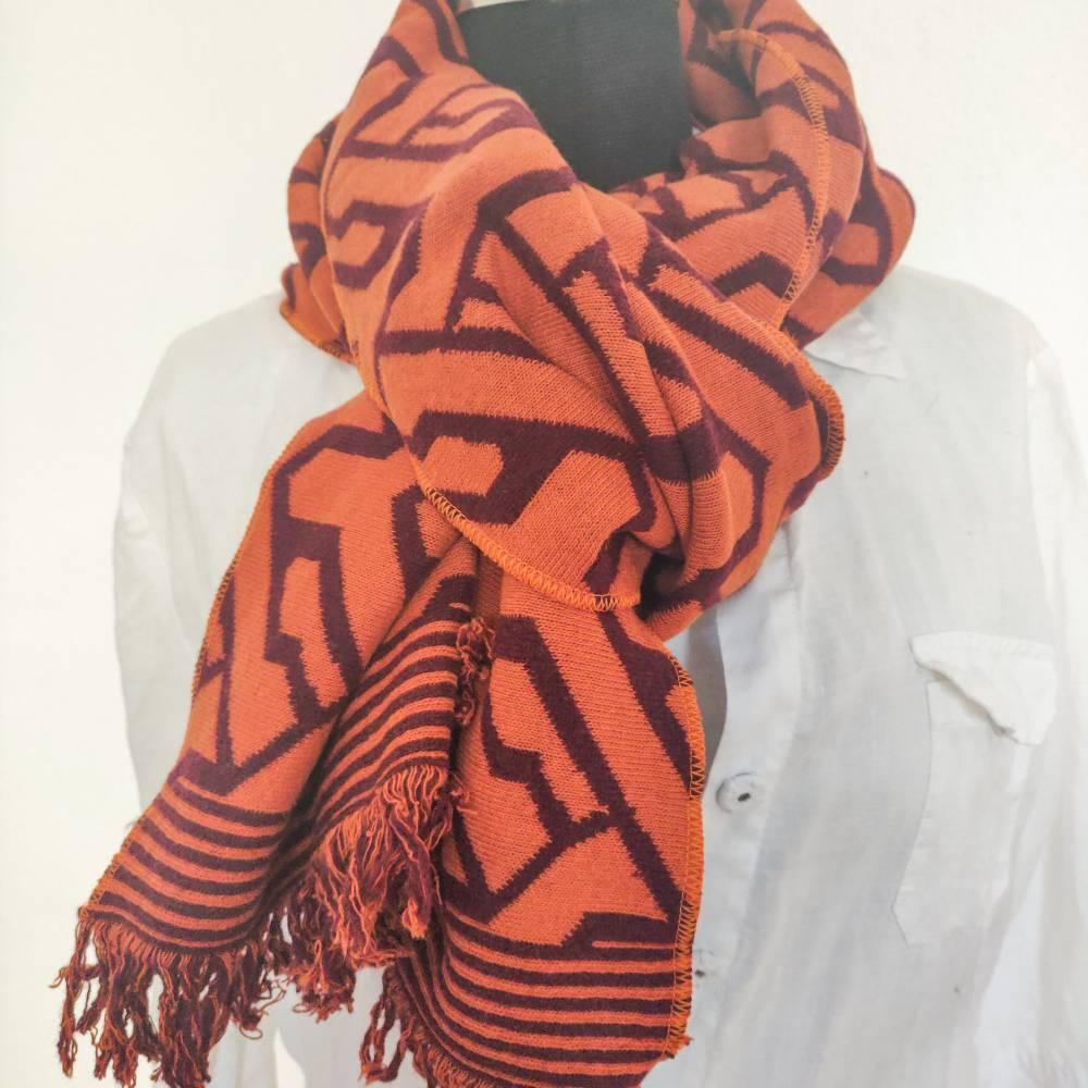 Schal aus Jaquardstrick grafisch, bordeaux-orange Bild 1