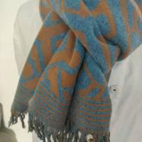 Schal aus Jaquardstrick grafisch, blau-braun Bild 1