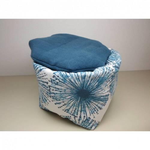 Eierkörbchen/ Eierwärmer *Ragnatela* Baumwolle blau mit Deckel nach Wahl