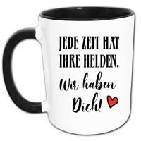 Helden Spruch Danke Tasse mit Herz, mit Name Personalisierbar, Danke Geschenk Held, Helfer Geschenke, Dankeschön Sprüche Bild 1