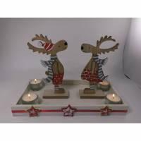 Tischdeko Advent Weihnachten Adventskranz einmal anders Elche auf einem Tablett Bild 1