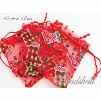 5 Organzasäckchen Weihnachten rot Geschenkbeutel mit schickem Weihnachtsmotiv Bild 1