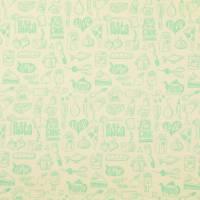 11,90EUR/m Bio Baumwolldruck Webware In my Kitchen Menu Hamburger Liebe creme mint Bild 1