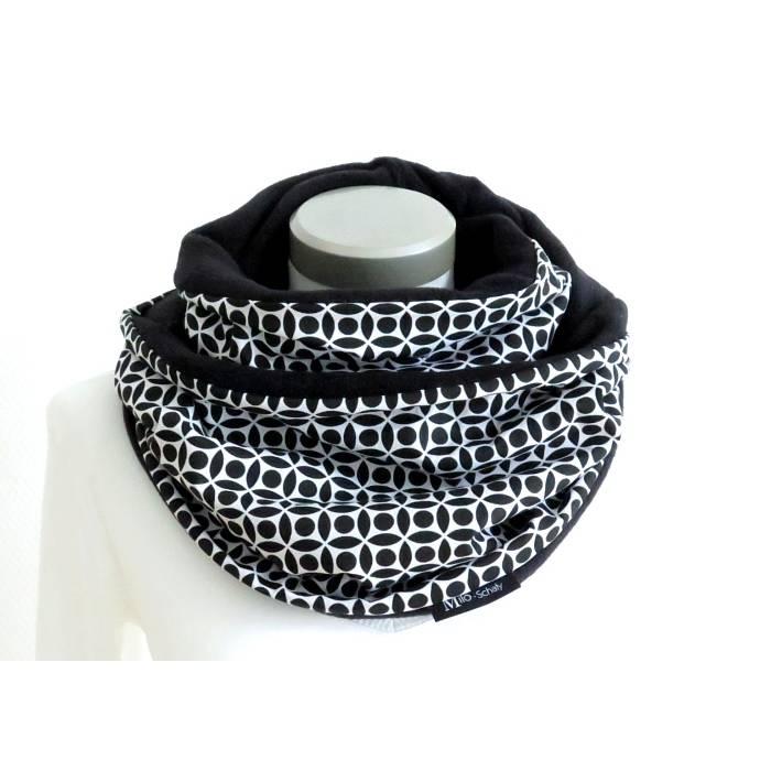 Loop Damen schwarz weiß Schlauchschal Fleece Kuschelschal Winterschal warmer Schal   Bild 1