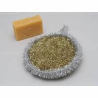Peelingschwamm Kugel in gold und silber von Hand gehäkelt Badeschwamm Massageschwamm Spülschwamm Bild 1