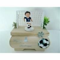 Geldgeschenke Weihnachten Fußball Geschenkbox Holz mit Figur Blau-Weiß Geschenkverpackung Vorname Bild 1