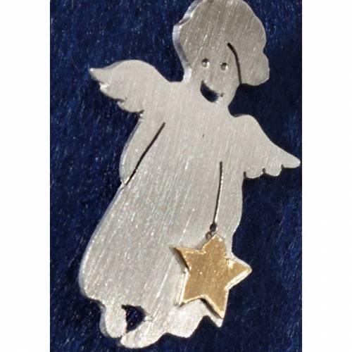"""Pin """"Engel Babette"""" verschmitzt lachender Engel in 935 Silber mit Feingoldbelötung –für ans Revers oder die Kraw"""