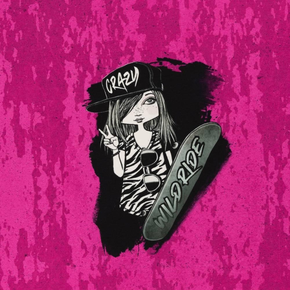 18,53EUR/m French Terry Panel Urban Girl Skater Girl by Thorsten Berger pink Bild 1
