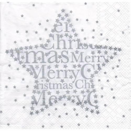 Weihnachten  5 Servietten / Motivservietten    Stern mit Schriftzug merry Christmas silber - weiß W 145