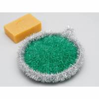 Peelingschwamm Kugel in grün und silber von Hand gehäkelt Badeschwamm Massageschwamm Spülschwamm Bild 1