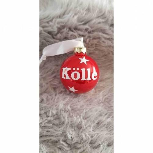 Weihnachtskugel *Kölle* Rot 6cm Schrift in Weiß - auch individuell nach Wunsch