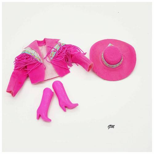 vintage, Barbie, Western Outfit Jacke mit Stiefeln und Hut in Pink, gebraucht aus den 80er Jahren