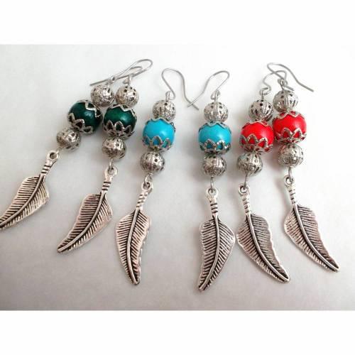 Chandelier Ohrhänger Vintage Ethno Ornament Perlen Quaste türkis antik bronze