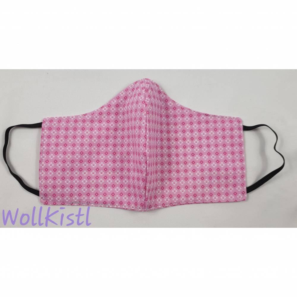 Behelfsmaske in Kindergröße 6-12 Jahre in Rosa mit pinken Blümchen aus Baumwolle zum Wenden Bild 1