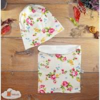 Mütze, Schlauchschal - KU 51 - Blumen auf creme - Im Set oder einzeln, Fleece gefüttert, Halssocke, Schlupfschal, Beanie Bild 1