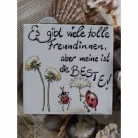 Bild Fliesenbild UNIKAT 15x15 cm Deko Sprüche Freundin Geschenk handgeschrieben Bild 1