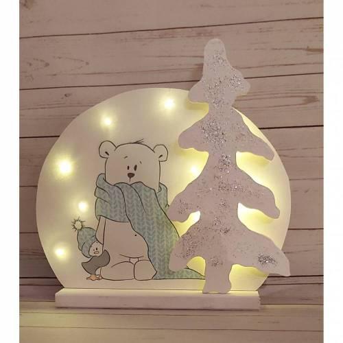 Lampe mit Glitzer Tanne  aus Holz mit emmapünktchen Motiv Herr Pfeiffer