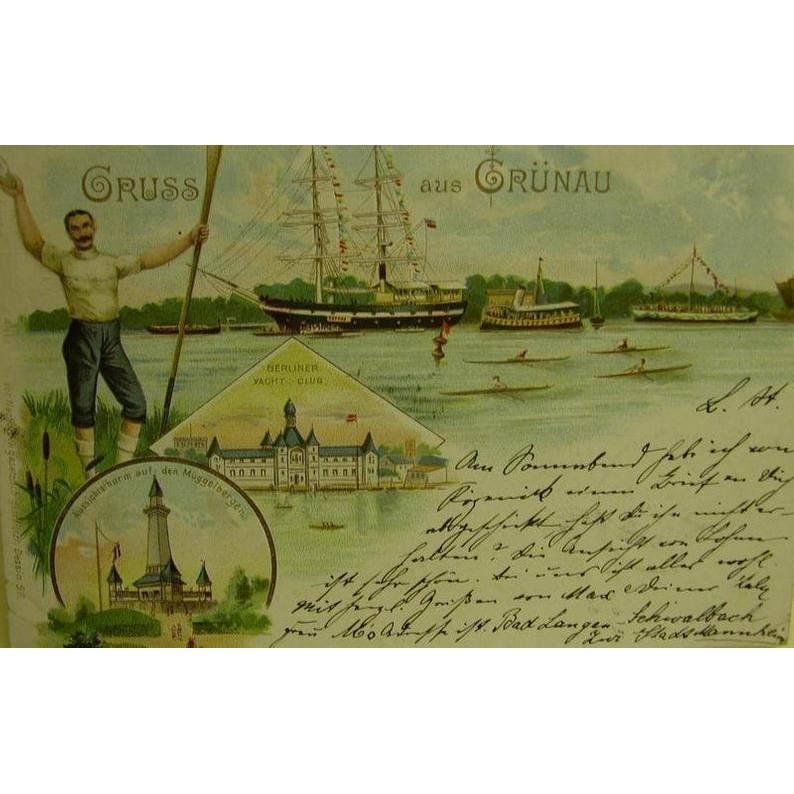 Historische AK - Gruß aus Grünau - 8.6.1893, beschrieben mit Briefmarke Bild 1