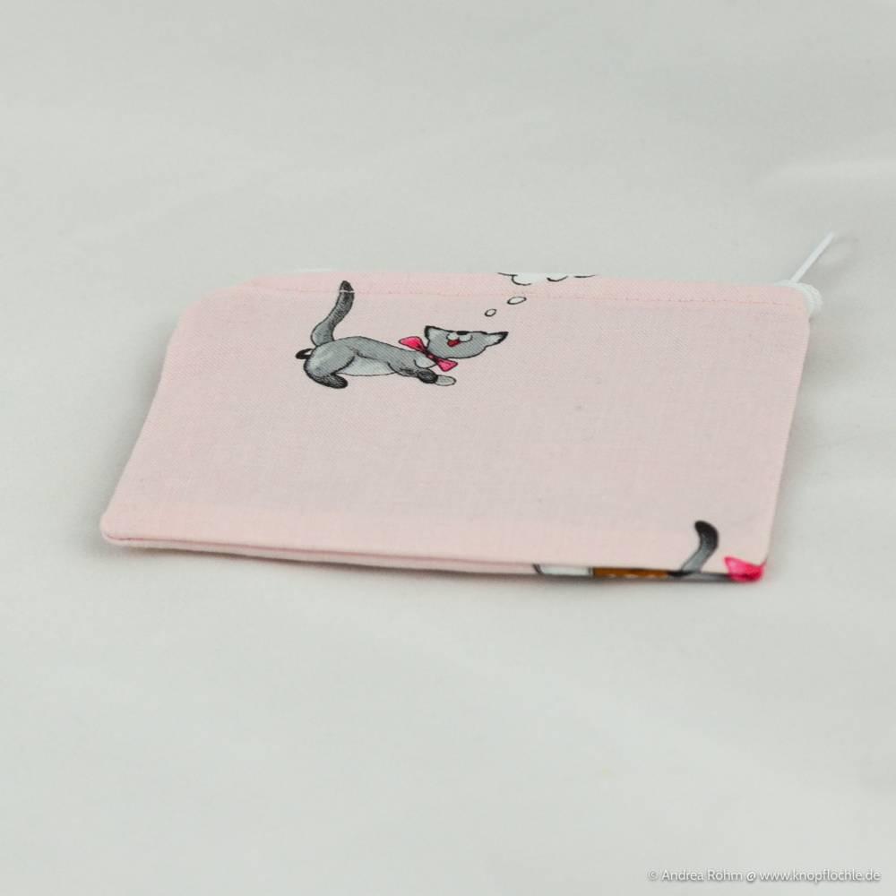 Mini-Tasche für Kleinigkeiten/Geld in rosa mit Katzen Bild 1