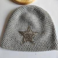 Warme Winter Cashmere  Woll Mütze in hellgrau mit Glitzerstern Bild 1