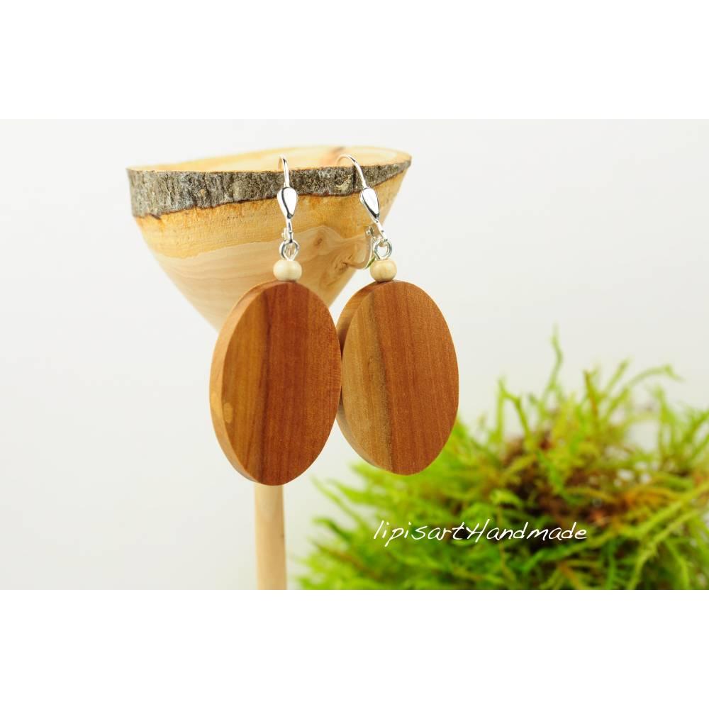 Große Ohrringe – Apfel-Holz Oval mit Klappbrisur Silber 925 Bild 1