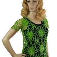 Häkel-Pulli grün Netzpullover Lochmuster-Pulli Handarbeit Bild 1