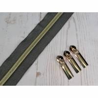 1m Endlosreissverschluss 5mm grau / hellgold Bild 1