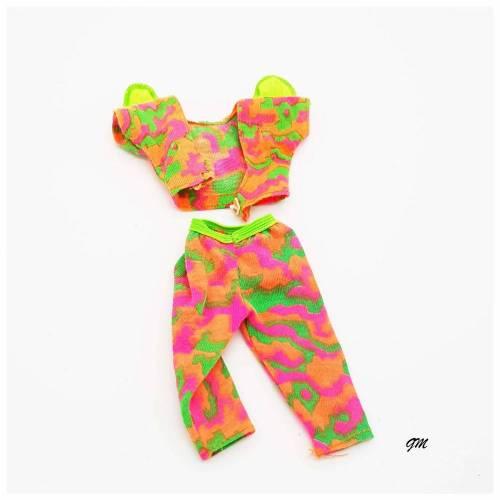 vintage, Barbie, 2 tlg. Set lange Hose und Top pink, orange, grün, gebraucht aus den 80er Jahren
