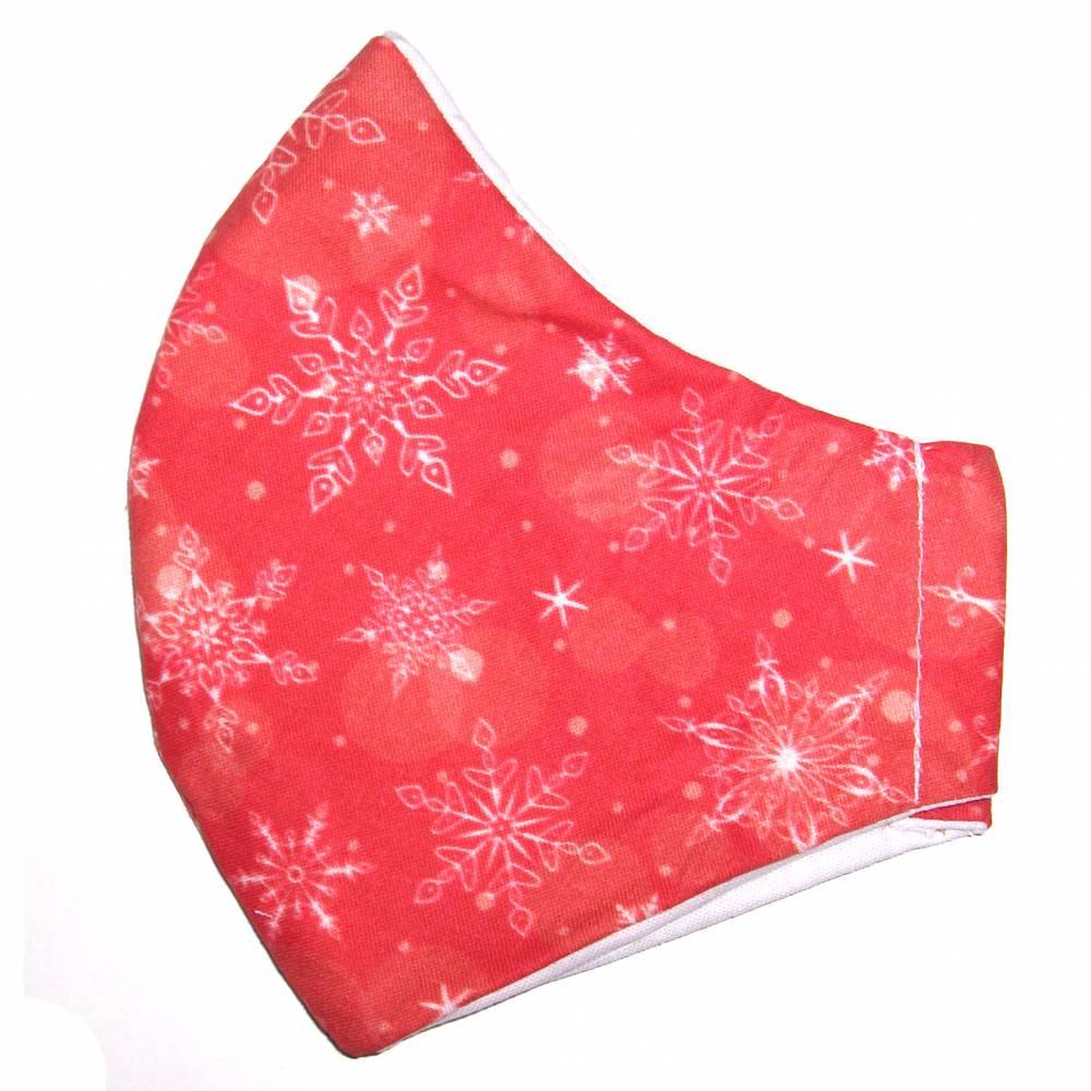 """MuNaske - Behelfs-Mund-Nase-Maske """"Flocken Rot"""", Größe M, genäht aus Baumwollstoff, OHNE Nasenbügel - Waschba Bild 1"""