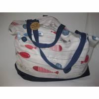 Stofftasche Maritim XL aus Baumwolle mit vier Henkeln für Einkauf und Freizeit Bild 1