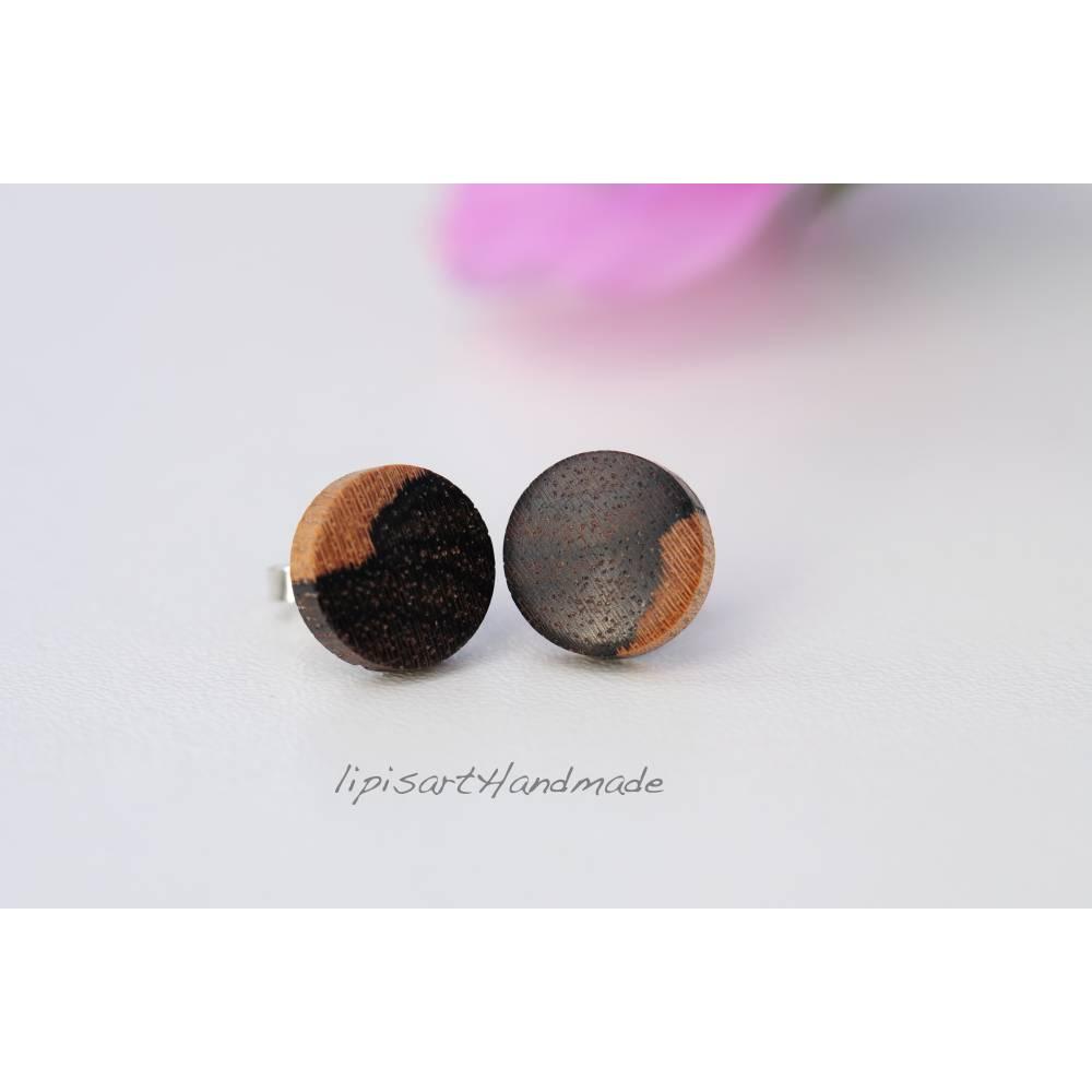 Holzohrstecker – Ziricote Holz Scheibe Ø 11 mm gedrechselt Ohrstecker 925 Silber Bild 1
