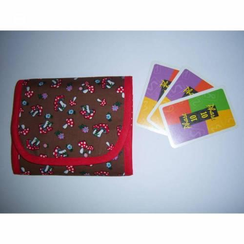 Spielkartentasche, Pilze auf braun, für 2 Kartenspiele, Geburtstagsgeschenk, personalisierbar, waschbar bis 40°