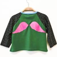 Shirt 86 / 92 langärmlig, grün bunt, Engelsflügel, Weihnachtsgeschenk, Upcycling, Unikat Bild 1