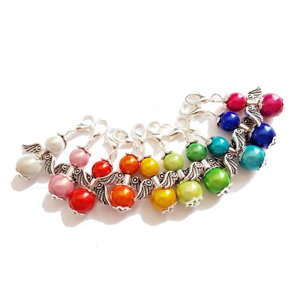 10 Engel aus Miracle Beads in Regenbogenfarben Schutzengel Gastgeschenk Konfirmation, Kommunion, Taufe Hochzeit Bild 1