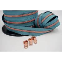 1m endlos Reißverschluss inkl. 3 Zippern - breit metallisiert dusty mint - kupfer Bild 1