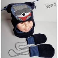 Walk Baby Kinder Mütze, Loop und Handschuhe, für Kopfumfang 49-51 cm aus Walk und Jersey mit Waschbär, Set !!! Bild 1