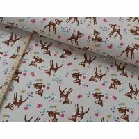 Jersey Bambi, Reh, Blümchen, Vögel, Schmetterlinge auf hellbeige Bild 1