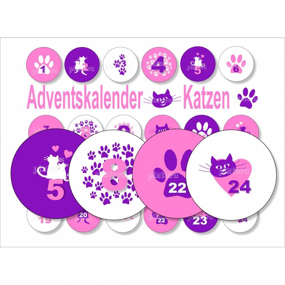 Adventskalender-Zahlen, Buttonvorlagen, Katzen rosa lila zum Ausdrucken Bild 1