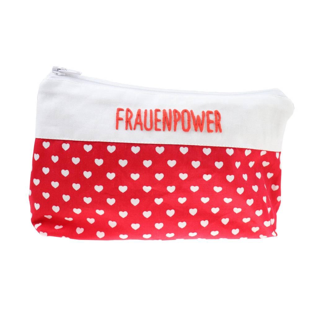 Schminktäschchen mit Herz 19x11cm mit Namen Kulturtasche Beauty Bag Waschtasche Kulturbeutel  Kosmetiktäschchen personal Bild 1