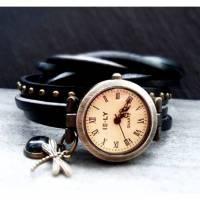 Armbanduhr, Wickeluhr, Uhr, Damenuhr, Lederuhr, Vintage-Stil, Libelle mit handgefertigten Glascabochon Bild 1