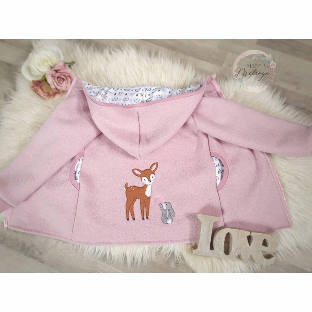 Walkjacke mit Stickerei für Mädchen Walkloden Wollwalk Winter Kapuze und Taschen bestickt mit Reh rosa Bild 1