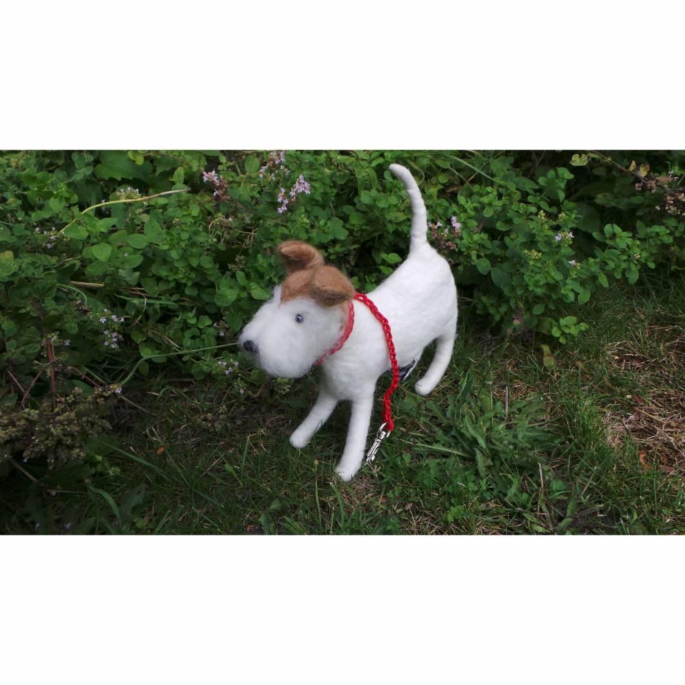 Kotbeutelspender Foxterrier aus Filz, Gassitäschchen, Etui für Kotbeutel, Hunde Accessoires, Foxterrier als Tasche Bild 1