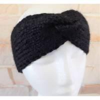 Stirnband handgestrickt mit Knoten - Farbe schwarz Bild 1