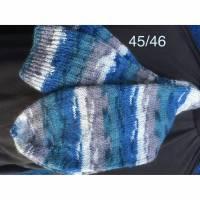 Handgestrickte Socken Gr. 45/46 Wohlfühlsocken Herrensocken, blau/grau Bild 1