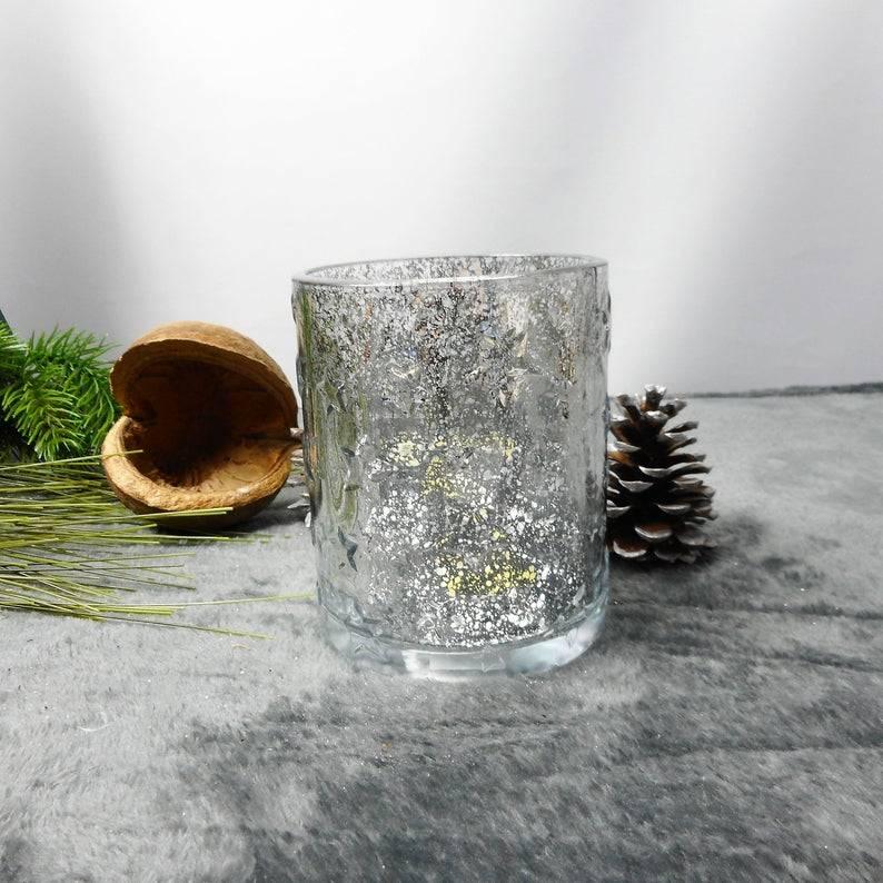 Teelichtglas silber mit Sternendeko, Tischdeko, Windlichtglas, Glas, Weihnachtsdeko, Kerzenglas, Floristikbedarf Bild 1