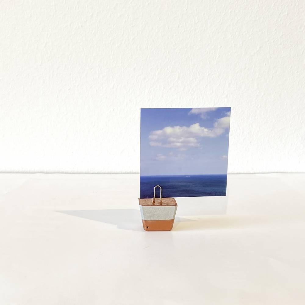 Memohalter Fotohalter Zettelhalter kupferfarben teilweise bemalt Bild 1